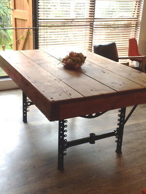 Extremely Unique Victorian Dining/work Table In Heavy Pine - Made In Britain