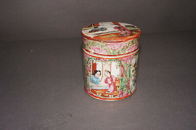 Antique 19c Chinese Rose Medallion Tea Caddy Covered Box