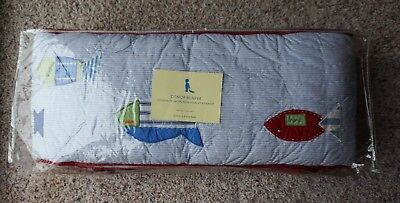 Pottery Barn Kids EUC baby boys Conor crib bumper pad nursery fish blue Connor