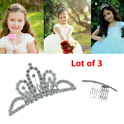 3pc Small Crystal Rhinestone Hair Headband Crown Wedding Bridal Comb Tiara Prom