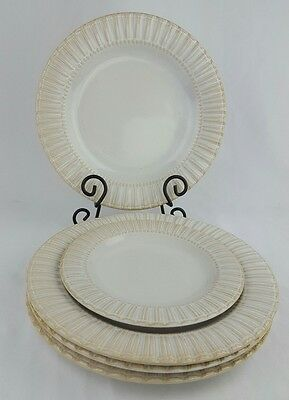 """Bombay 11"""" Dinner 8.25"""" Salad Plates Set of 5 Ivory Taupe Fluted Ribbed Rim Dots"""
