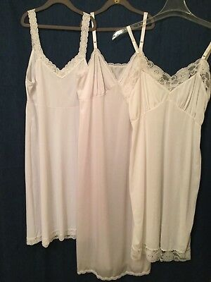 Vintage Ladies Full Slips~Lot of 3~White~Size 36-38~Shadowline