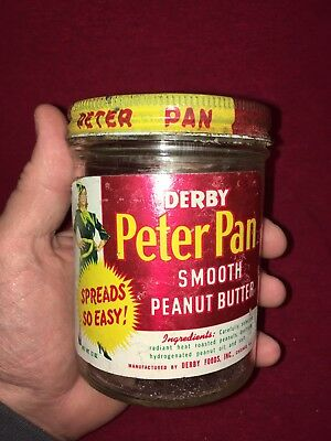 Vintage Derby Peter Pan Peanut Butter Jar Advertising Hazel Atlas glass 12oz