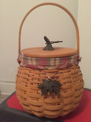 Longaberger 2001 October Fields Basket with Lid,Liner, Protector, Two tie-ons