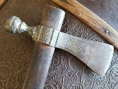 Peace Pipe Tomahawk Hard Wood Haft Steel & Brass Antiqued Smokeable Reproduction
