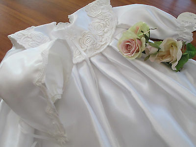 "Lovely Christening Ensemble Size ""0"" In Heavy Satin And European Lace"