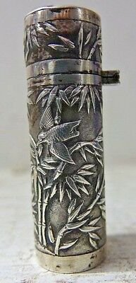 Very Fine Quality Chinese Silver Scent Bottle Holder - Signed - Extremely Rare