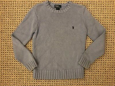 Ralph Lauren Polo Boys Small Cable Knit Light Blue Sweater