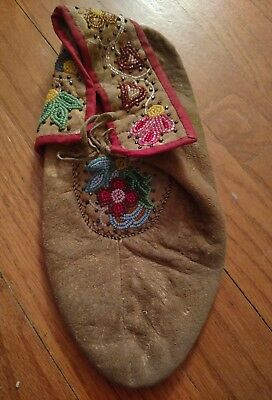 Vintage Antique Native American Late 1800's Plains Indian Beaded Moccasin