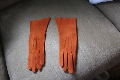 beautiful vintage russet colored kid gloves - size 6 - never worn