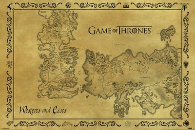 Game Of Thrones Westeros and Essos Detailed Map Medieval Fantasy Book/TV Series