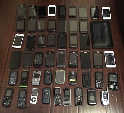 Lot of 50 Cell Phones/Tablet (11+ lbs) Scrap Gold Recovery Repair SOLD AS IS