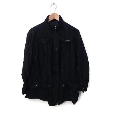 Barbour International Jacket 12 Black Men's Coat Zip Snap Pockets Logo Pin
