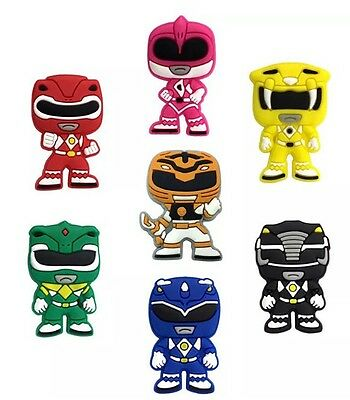 7 Piece Power Ranger Jibbitz, Charms, Wristbands, Crocs, Cake Toppers