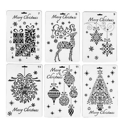Wall Painting Grain Stencil Christmas Pattern Reusable Paint Stencil Gifts YAAU