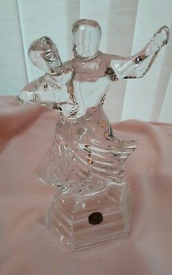 "Italian Glass Ballroom Dancers Figurine Statue RCR Royal Crystal Rock 9.5""/24cmT"
