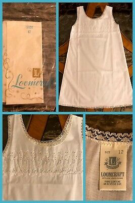 1970 Girls Full Slip White Lace Dress Polyester Cotton Eyelet VINTAGE NEW Sz 12