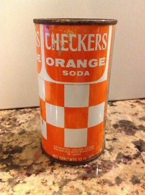 Vintage 1966 Checkers Orange Soda Straight Steel Pull Tab soda can