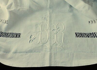 Fabulous French Antique Linen Bed Sheet With Embroidery Monogram Br  Iris Flower