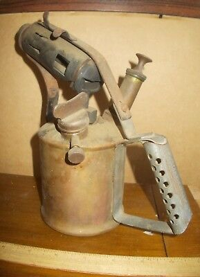 old Companion brass blow Torch,complete original parts,plunger vg,Extra Cap