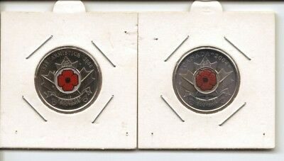 CANADA - REMEMBRANCE SOUVENIR TOKENS - RED POPPY - 2004 and 2008
