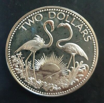 1974 Bahamas 2 Dollar Coin..Large Silver (PROOF) Coin Uncirculated....