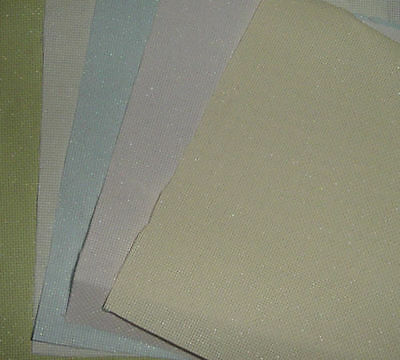 5 Pieces of 14 count Iridescent Aida- Assorted colours for Cross Stitch