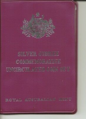 1977 - SILVER JUBILEE COMMEMORATIVE UNC Decimal Coin Set - In Purple Wallet