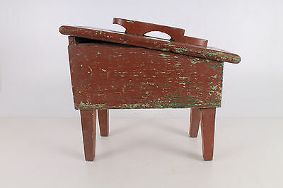 Antique Primitive Old Handmade Wooden Wood Shoe Polishing Cleaning Stand.