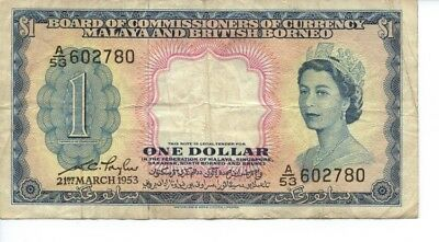 MALAYA and BRITISH BORNEO - One Dollar Note from 1953