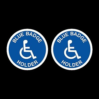 2 x Blue Badge Disabled Car Stickers 100x100mm Mobility Window Decal Vinyl