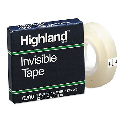 "Invisible Permanent Mending Tape, 1/2"" x 1296"", 1"" Core, Clear"
