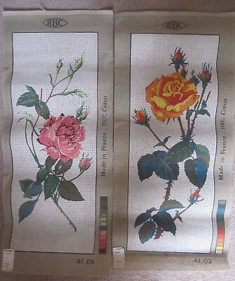 """2 x RBC UNWORKED TAPESTRY - """"ROSES"""" MADE IN FRANCE 100% COTTON-NO THREADS-NEW"""