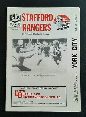 Stafford Rangers v York City F.A Cup 1st Rd Programme 21/11/81