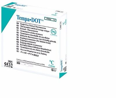 Disposable Thermometers - Tempa-Dot  (single use) x1 Box 100. Expire Sep 2019