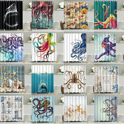 Sea Animal Octopus Whale Fabric Waterproof Bathroom Shower Curtain With Hooks