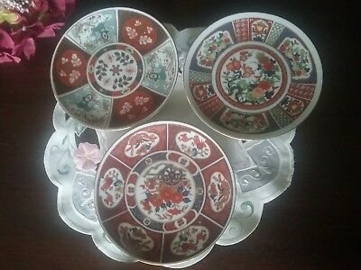 ANTIQUE IMARI STYLE CABINET/WALL DISPLAY PLATES × 3 ~ JAPAN ~ 16cm dia