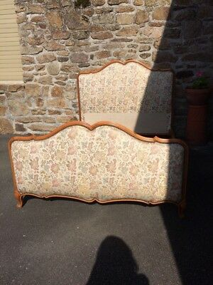 Vintage French Louis XV Style Upholstered Double Bed Frame