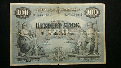 1900  100 Mark German Empire Banknote   118 Years Old  Note         #