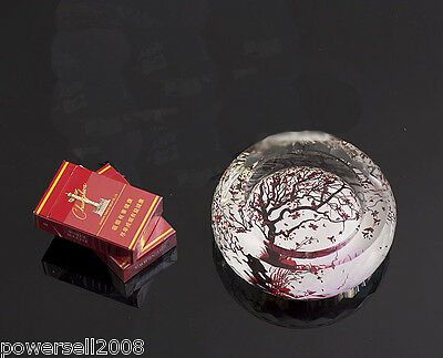 """Classic Polyhedral Shiny Crystal Glass Household Hotel Use Ashtray""""Red Tree"""""""