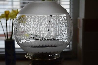 "Victorian style oil lamp stenciled etched shade in good used condition 4""fitter"