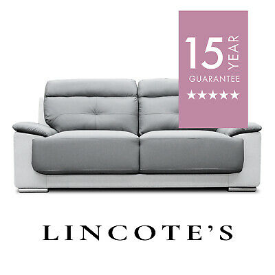 ASTRA Two-Tone Light and Dark Grey Leather Sofa 3 + 2 Seaters + Armchairs