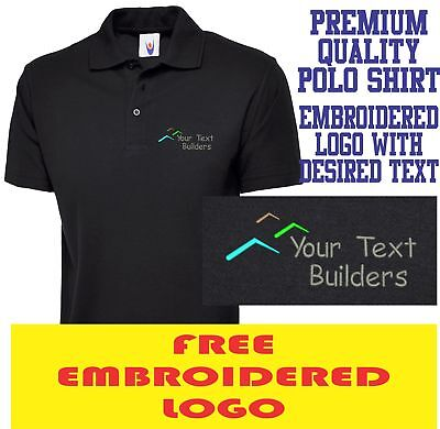 Personalised Embroidered Builder Polo Shirt Construction Workwear Uniform Logo
