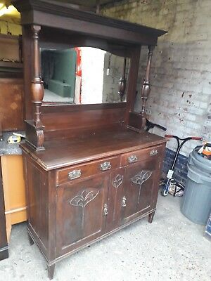 Victorian Mirror Backed Oak Sideboard  Antique Cupboard