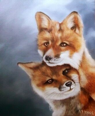 Original Close Up of Two Foxes in oil by Wildlife Artist A T Jones
