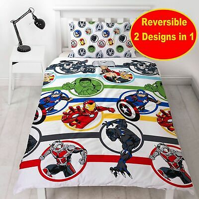Marvel Avengers Kids Childrens Bedding Duvet Cover Pillowcase Set Single Bed