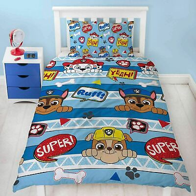 Paw Patrol Pawsome Kids Childrens Bedding Duvet Cover Pillowcase Set Single Bed
