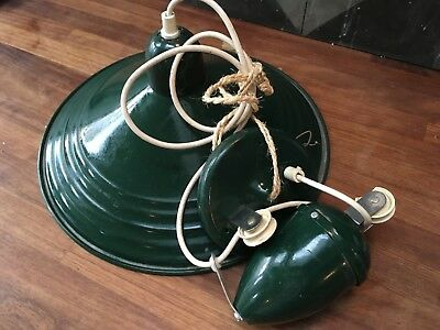 Vintage green French enamel rise & fall adjustable light industrial pendant