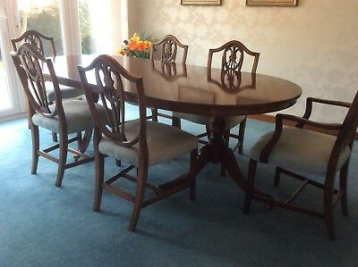 Reprodux Bevan and Funnel Antique Mahogany Finish Dining Table and 6 Chairs