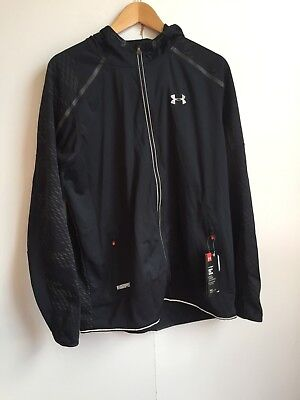 Under Armour UA Men's Reflective Fitted Hooded Winbreaker - Large - Black - New